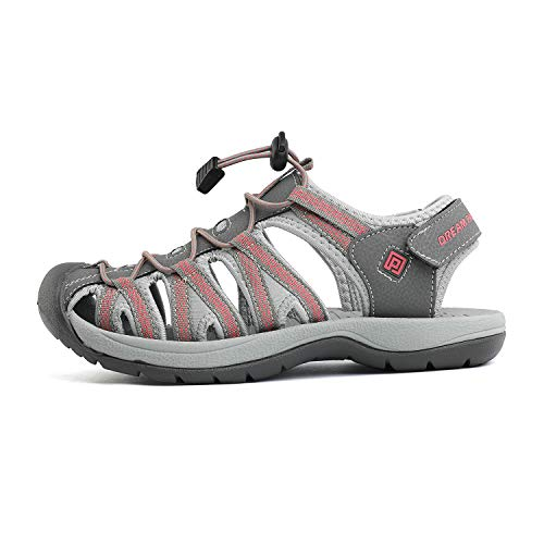 DREAM PAIRS Women's 160912-W-New Grey Coral Adventurous Summer Outdoor Sandals Size 8 M US
