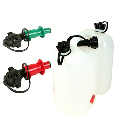 Doppelkanister Transparent Benzinkanister 5L Benzin 3L Öl mit 2 Automatik Ausfüllsystemen