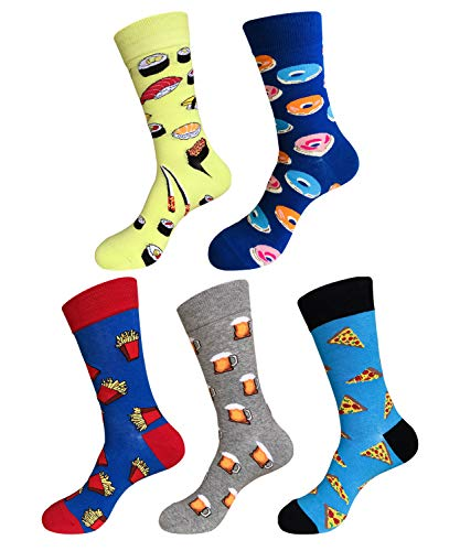 EmaoFun Calcetines divertidos para hombre, calcetines coloridos de algodón para vestir, para hombre, talla 39 - 46… (Alimentos)