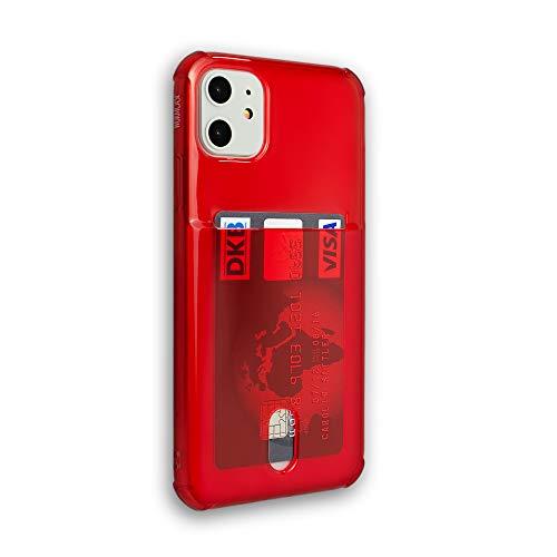 Wormcase® Kunststoffhülle mit Kartenfach kompatibel mit iPhone 11 - Farbe Rot - TPU Schale Back-Cover Schutz-Tasche Kratzfest Stoßfest Bumper Crystal-Clear dünn leicht schmal