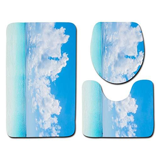 WDDGPZYD Bad WC-Matte Tapis De Salle De Bain Et Couvre-Siège De Toilette avec Plage Bleu Ciel 50X80Cm Et Tapis De Bain Et Couvre-Siège De Toilette