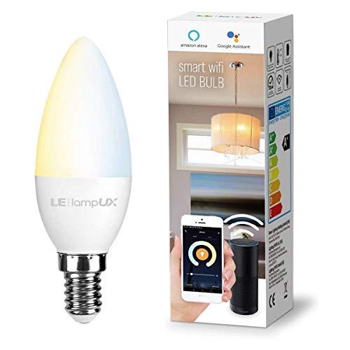 LE 4.5W Smart E14 LED Lampen, Warmweiß und Kaltweiß, Dimmbar LED Leuchtmittel, Kerzen, Wlan LED Birnen, Ersatz für 40W Glühbirne, kompatibel mit Alexa und Google Home, Kein Gateway erforderlich