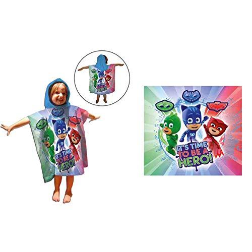 PJ Masks PJMASKS - Poncho con Capucha Toalla Microfibra Hero 55 x 110 cm