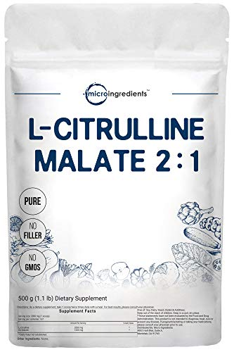 Pure L Citrulline Malate 2:1 Powder, 500 Grams (1.1 Pound), Vegan Citrulline Supplement and Citrulline Nitrate, Strongly Supports Muscle Performance, Energy, Stamina, Endurance and Strength, Non-GMO