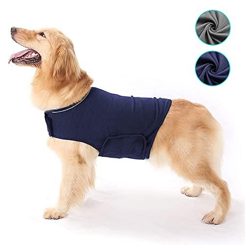 Abrigo para Perros de ansiedad y frescor Transpirable para Perros, Chaqueta Ajustable para la ansiedad del Perro, para Mantener la Calma (Azul, Gris) (Azul, Large)