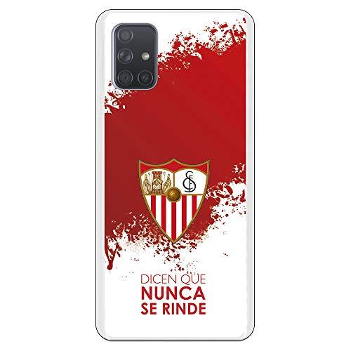 Funda para Samsung Galaxy A71 Oficial del Sevilla FC Sevilla Dicen Que Nunca se Rinde para Proteger tu móvil. Carcasa para Samsung de Silicona Flexible con Licencia Oficial del Sevilla FC.