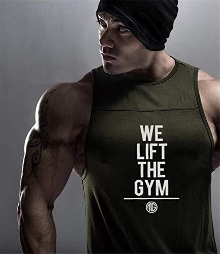 Fitnessvest heren sport fitness vest toptraining lopen mouwloos T-shirt, groen letterprint slim fit vest lichaam spieren zomer sneldrogend ademend katoen vest