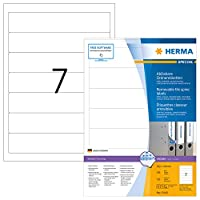 HERMA 10140リムーバブルファイルラベルA4 192x38 mmホワイト移動式用紙/リムーバブル紙マット不透明700個。