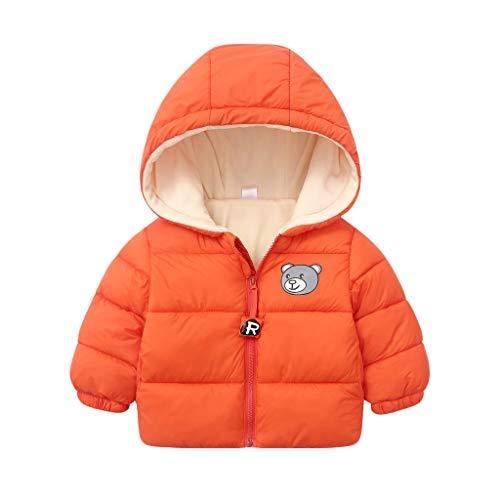 Deloito Winter Kinder Outwear Klein Jungen Mädchen Freizeit Mäntel einfarbig Reißverschluss Dicker Baumwoll Daunenjacke Karikatur Bär Drucken Kapuzenjacke (Orange,120/3-4 T)