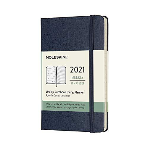 Moleskine - Agenda Settimanale 2021, Agenda Settimanale 12 Mesi, Weekly Planner e Notebook, Copertina Rigida, Formato POCKET 9 x 14 cm, Colore Blu Zaffiro, 144 Pagine