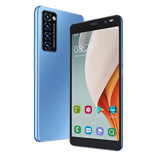 Rino4 Pro 5.45 Pulgadas Desbloqueo de Huellas Dactilares faciales Tarjeta SIM Dual Standby LANDVO Smartphone 1 + 8G, Pantalla de Memoria Grande, Portátil(Azul)