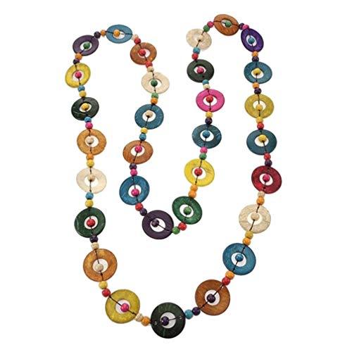 VALICLUD Noix de Coco Collier de Perles en Bois à La Main Perlé Long Collier Perles de Noix de Coco Cou Pendentif pour Femmes Filles Bijoux Ethniques Décoration Murale