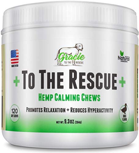 Gracie To The Rescue Calming Treats for Dogs | 120 Soft Chews Dogs -Treats for Anxiety Relief, Separation, Motion Sickness, Hyperactive Behavior, Composure Aid, Thunder Storms, Chewing & Barking