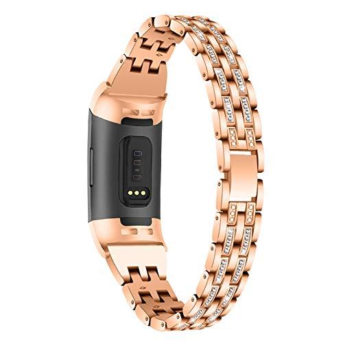 HGNZMD Brazaletes Compatible con Fitbit Charge 3/4, Pulsera Ajustable De Acero Inoxidable Strap De Repuesto De Metal Band De Pulseras con Purpurina Compatibles con Charge 3/4,Rose Gold