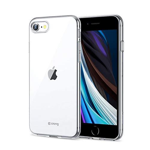 Crong Crystal Slim Cover skal för iPhone SE 2020/8/7, kompatibel med trådlös laddning, punkterad struktur, helt transparent