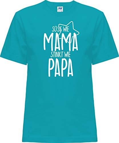 Kleckerliese Baby Kinder T-Shirt Kurzarm Sprüche Jungen Mädchen Shirt Nicki mit Motiv Süss wie Mama stinkt wie Papa, Turquoise, 0 Jahre