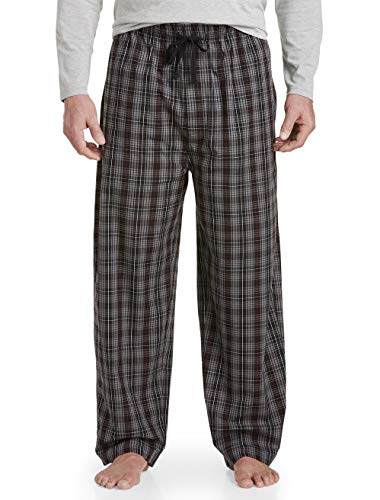 Harbor Bay by DXL Big and Tall Plaid Woven Lounge Pants Charcoal