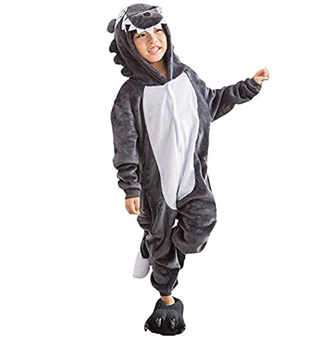 Mono Kigurumi para Usar como Pijama o Disfraz para Carnaval, Halloween o Cosplay; para niños, Unisex, con diseño de Animales: Unicornio, búho, Stitch, Cebra, Jirafa, Vaca - L - Lupo