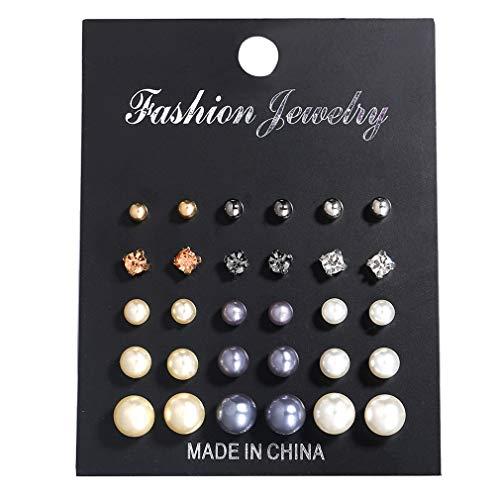 # N/A Rlmobes 15 pares de pendientes de perlas artificiales simples de diamantes de imitación Set de joyería para mujer