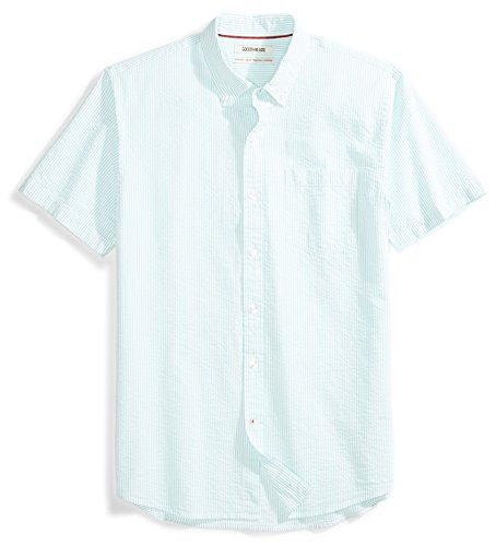 Amazon Brand - Goodthreads Men's Standard-Fit Short-Sleeve Seersucker Shirt, green/white, X-Large