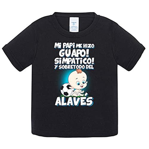 Camiseta bebé mi papi me hizo guapo simpático y sobretodo aficionado al fútbol alavés - Negro, 1 año