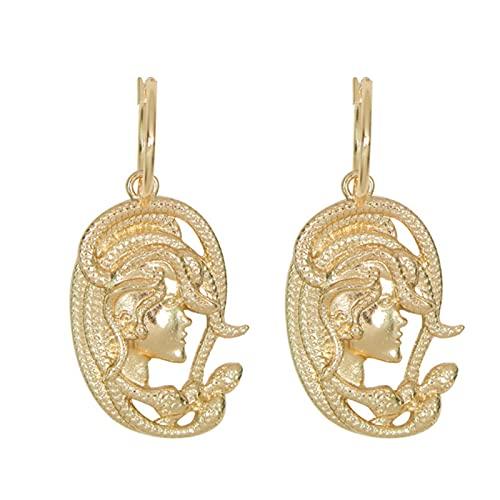 Pendientes de gota de oro de serpiente de estilo retro egipcio para mujer, pendientes bohemios punk, joyería de fiesta