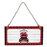 ドアプレート 母の日 赤い格子 ラブハート カーネーション 木紋 レターボード ウェルカムボード ミニ黒板 ポップボード クローズ 看板 お店看板 メニューボード DIY おしゃれ 木製 吊り下げタイプ 20x10cm