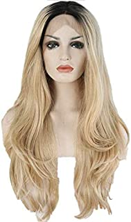 Heat resistant fiber Black root ombre blonde two tone Color perruque women natural wave Synthetic Lace Front Party Wig For...