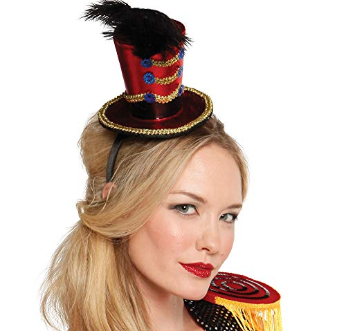 Suit Yourself Mini Ringmaster Top Hat for Women, One Size, Features Rope Accents, Black Hatband, Feathers and More
