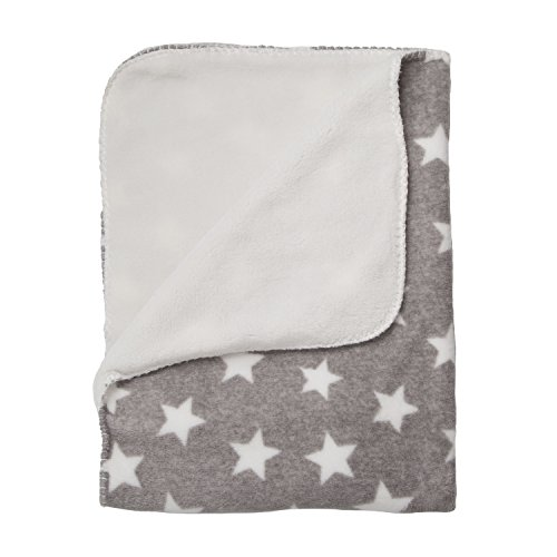 "Delta Children Super Soft Warm Cozy Fuzzy Fluffy Fleece Baby Blanket for Crib, Stroller, Travel, Outdoor, Nursing Cover Tummy Time Machine Washable 29.5"" x 39.5""FOR PETS TOO - Grey Stars"