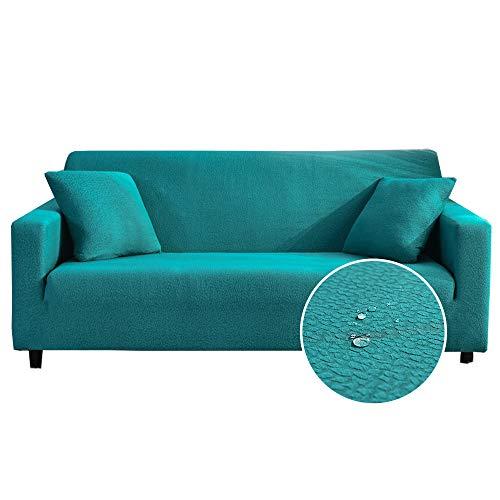 Oduo Wasserdicht Seersucker Stretch Sofabezug mit Armlehnen Sofaüberwürfe 1 2 3 4 Sitzer, Passend für Ecksofa L Form Sofa/Couchbezug/Sesselbezug/Sofahusse (Türkis,2 Sitzer)