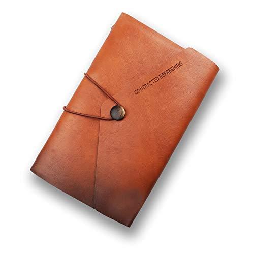 A6 cuero de la PU Cuaderno Cuaderno Diario de escritura Papel del cuaderno diario intercambiable, bien de papel suave cuero de la PU + metal aglutinante de lace + + calidad - 100 g/m² (Marrón)