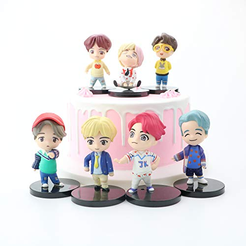 Kpop BTS Cake Toppers Set fingure Characters Set of Action Figure Toys Cake Toppers for Bangtan Boys Birthday Party Supplies