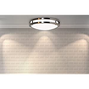 "Modern Flush Mount LED Ceiling Light by Sleeklighting (12"" inch) 15Watt - 1050 Lumens, 3000K Soft White - 50,000 hours Life - Easy to Install - 80% more efficient, Dimmable, UL, ENERGY STAR"