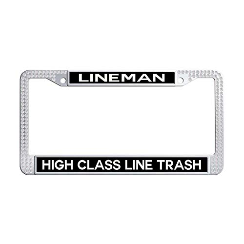 Toanovelty High Class Line Trash Lineman White Sparkle Rhinestones Car License Plate Holder, Waterproof Bling Crystal Stainless Steel Car tag Frame 6' x 12' in