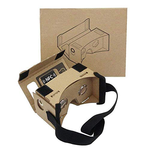 Google Cardboard,Virtual Real Store 3D VR Headsets Virtual Reality Glasses Box with Clear 3D Optical Lens and DIY Comfortable Head Strap Nose Pad for All 3-6 Inch Smartphones … (1 Pack)