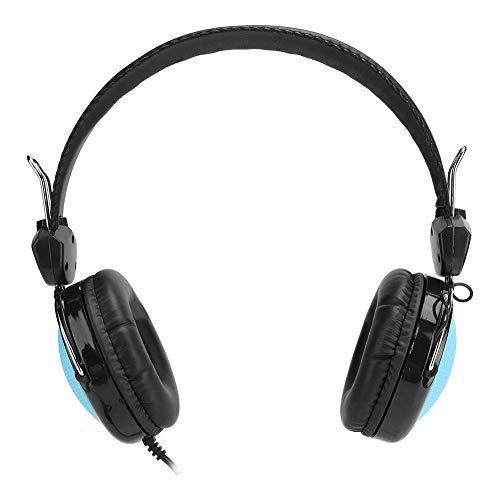 Bekabelde gaming-headset, draagbare 3,5 mm-aansluiting Lossless Surround Stereo Bekabelde op het hoofd gemonteerde gaming-hoofdtelefoon met ruisonderdrukkende microfoon, voor computer/pc(Blauw)