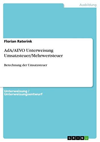 AdA/AEVO Unterweisung Umsatzsteuer/Mehrwertsteuer: Berechnung der Umsatzsteuer