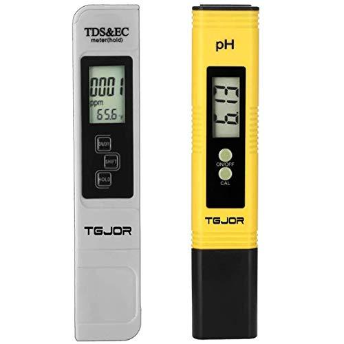 PH Tester/TDS&EC Tester TGJOR, Messgerät für Wasserqualität, 4-in-1 Set, Digital-Messgerät, Tragbar/Autokalibrierung und automatische Temperaturkompensation, mit Hintergrundbeleuchtung
