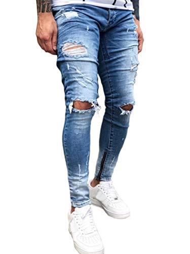 Shownicer Herren Superenge Skinny-Jeans mit Rissen an den Knien Hellblau L