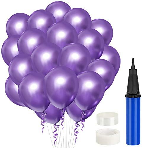 Gafild 60 Piezas Globos Metalizados, PúrpuraGlobos de Fiesta Decoraciones Cumpleaños Globos De Látex para Cumpleaños, Bodas Aniversario, Bautizos Comunion Graduacion Fiesta Decoracio
