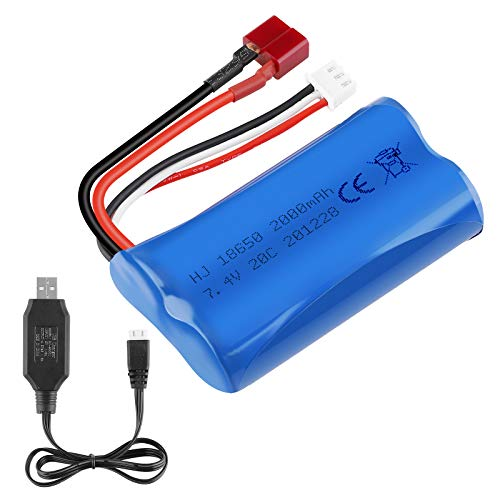 2S Li-ion Battery 7.4V 2000mAh 20C T Plug Female Connector Rechargeable Battery with USB Battery Charger for RC Car Off Road Truck Jumper T16 Transmitter etc