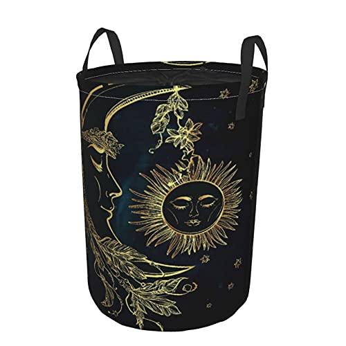Cesta de almacenamiento, Luna creciente con plumas Boho Alchemy Magic Diseño de mitos egipcios, Cesto de lavandería grande plegable con asas 19'x14'