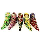 Azhna Juego de 5 juegos de 5 muñecas matrioskas de 10,5 cm, muñecas rusas, matrioska, babuschka, nido, recuerdo para el hogar, colección Surprize Design de madera pintada a mano, apilables