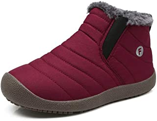 EXEBLUE Boots for Kids Outdoor Water-Resistant Winter Snow Boots with Fur Lining for Boys Girls