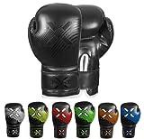 FightX Kids Boxing Gloves Junior 4oz, 6oz Training Boxing Gloves for Girls and Boys Fighter Boxing Gloves MMA PU Leather Sparring Boxing Gloves Set for Children (Full Black, 6oz)