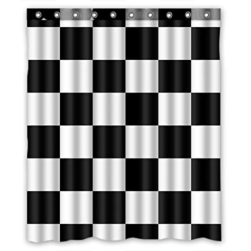 KXMDXA Custom Black White Checkered Pattern Shower Curtain Waterproof Polyester Bathroom 60 x 72 inch