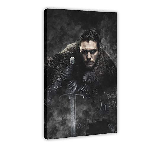 Poster sur toile Game of Thrones Jon Snow de Game of Thrones pour chambre à coucher, décoration de bureau, 60 × 90 cm, cadre style 1