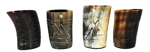 Odin and Waves Schnapsgläser, handgraviert aus natürlichem Horn, poliert, 10 cm, 4 Stück