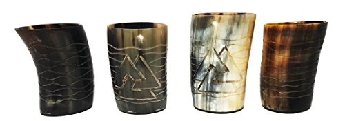 Odin and Waves: juego de 4 unidades de vasos de chupito grabados a mano de cuerno natural pulido, de 10cm perfecto como regalo y para servir bebidas frías en fiestas